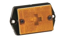 Side Marker/Clearance Light  w/Reflex Lens w/Black Ear-Mount Base